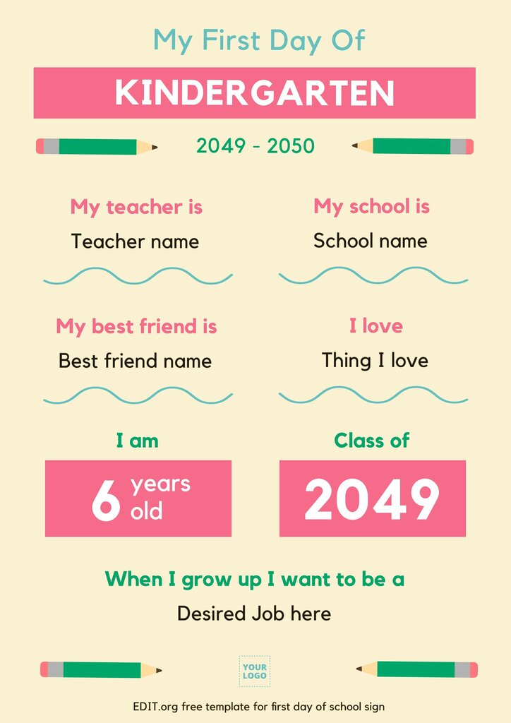 Editable 1st day of school board template with chalkboard background and letter