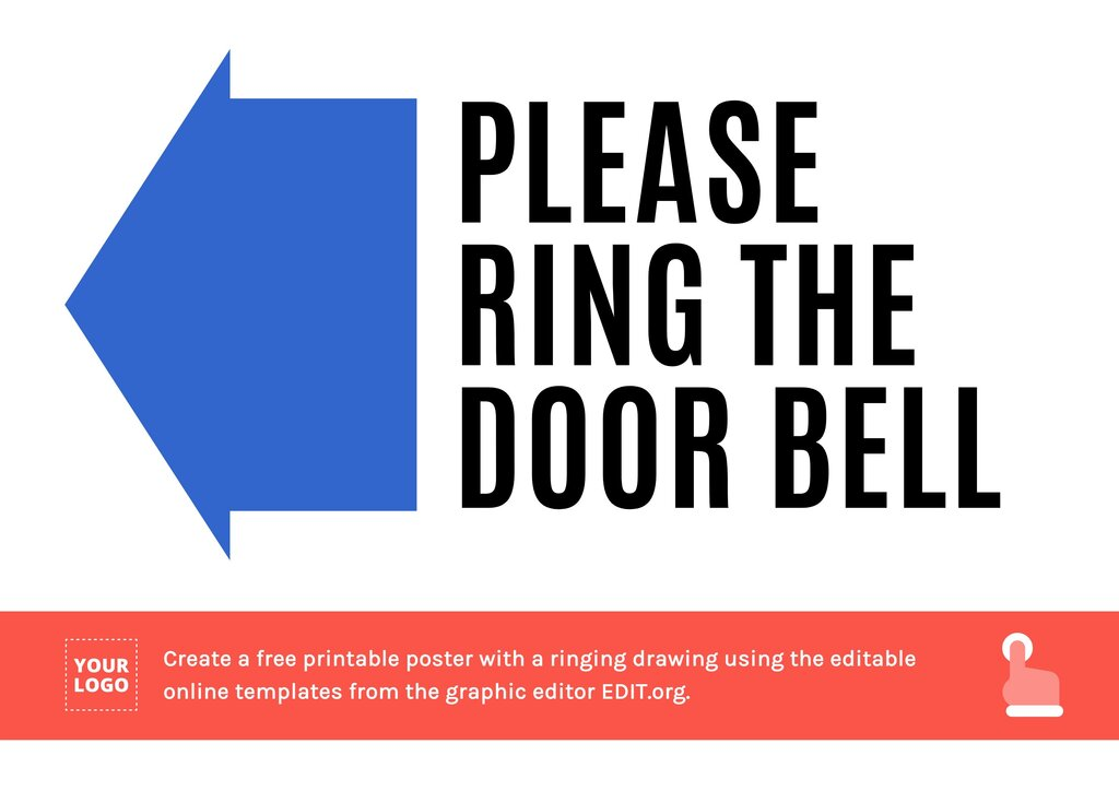 Ring the door bell sign with arrow to edit online and print