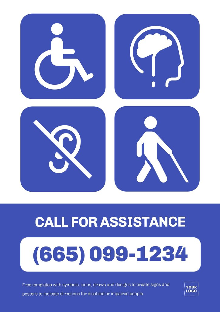 Call for assistance template sign to edit online for disabled people