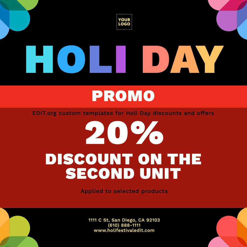 Editable templates with Holi greetings and discounts for businesses