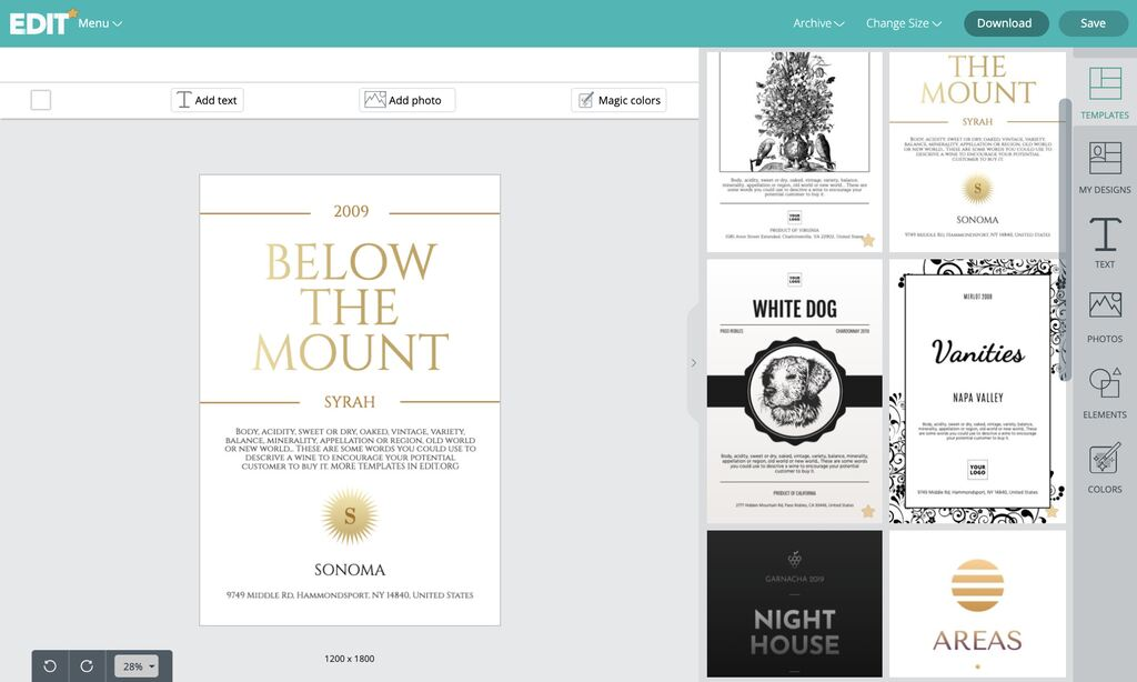 Wine labels creator online with free templates