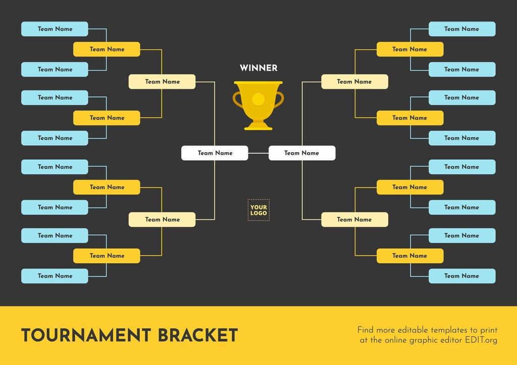 16 teams tournament bracket template to edit online