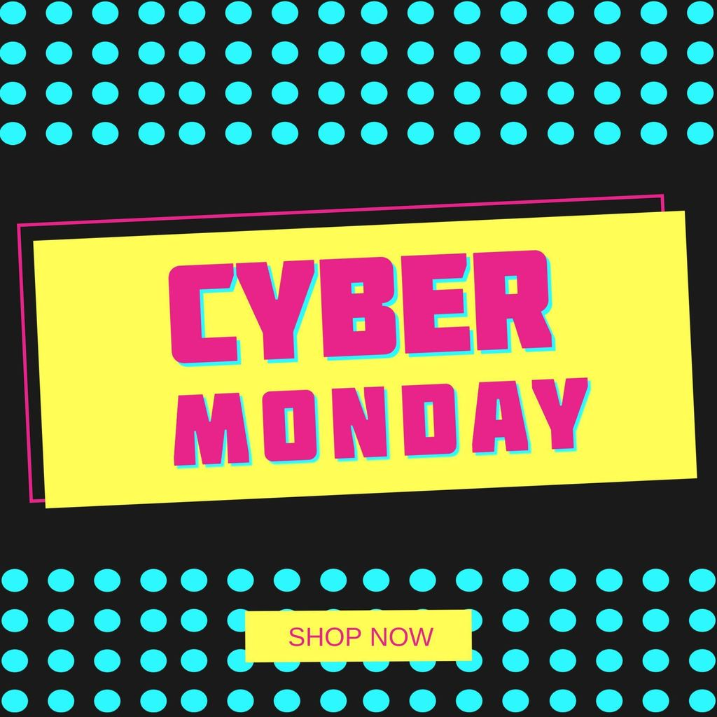 banner cyber monday pink and yellow