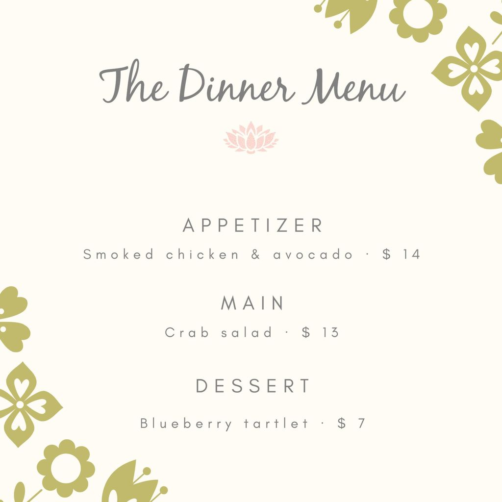 dinner restaurant menu