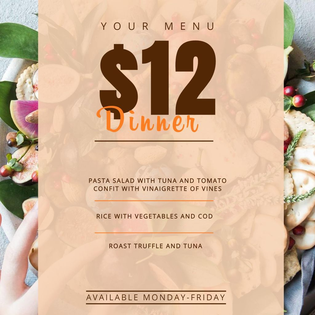 restaurante menu template $12