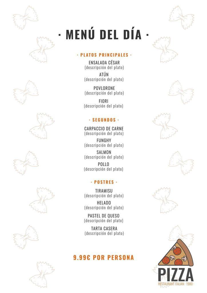 plantilla menu italiano