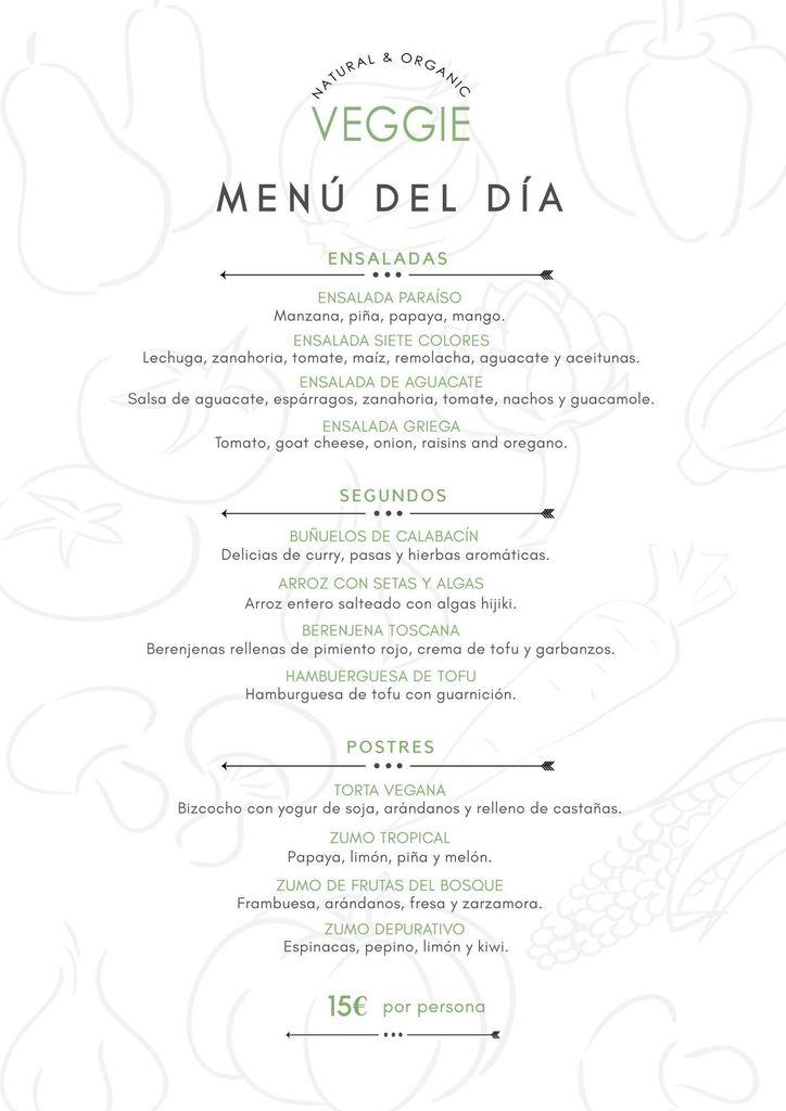 menu del dia vegano