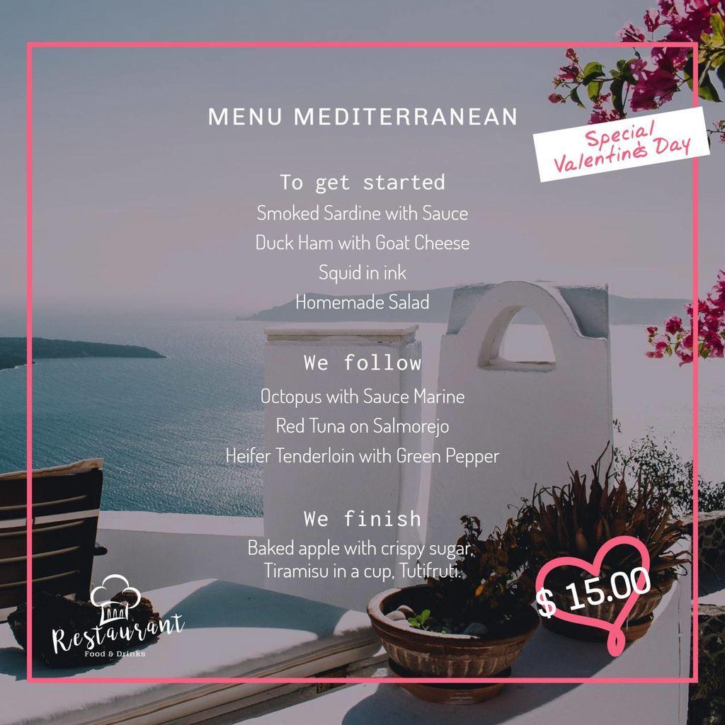 valentines menu gray template