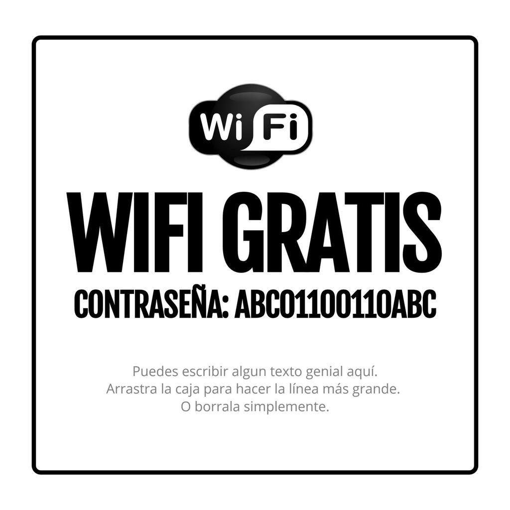 cartel wifi password plantilla