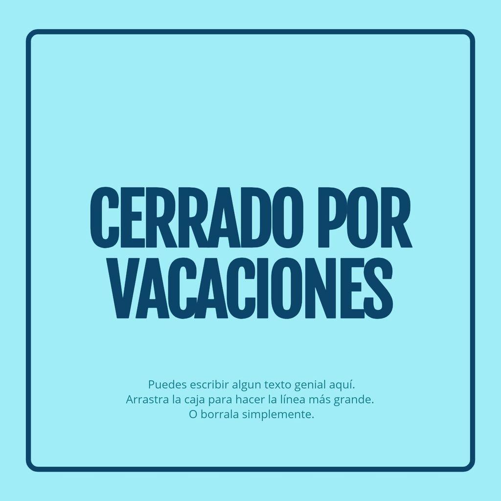 cerrado por vacaciones cartel