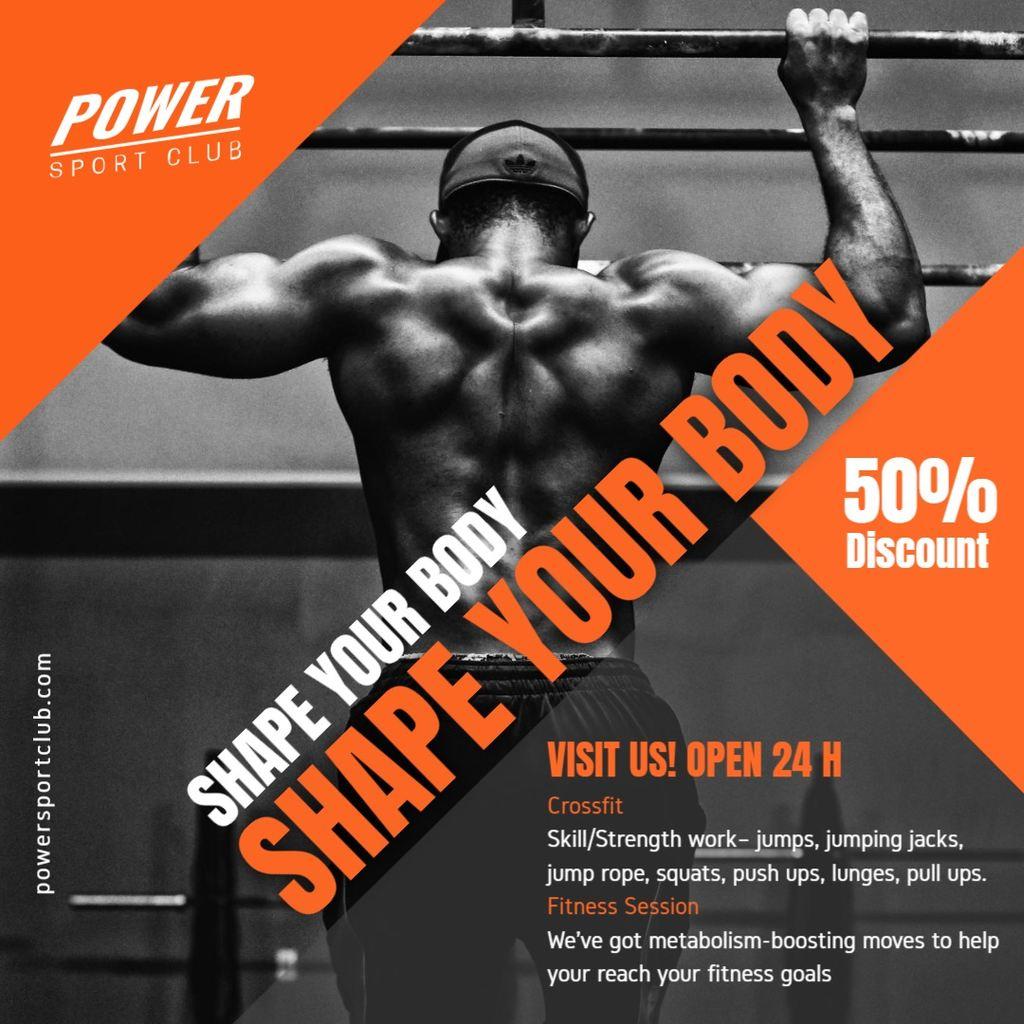 gym promotion banner orange