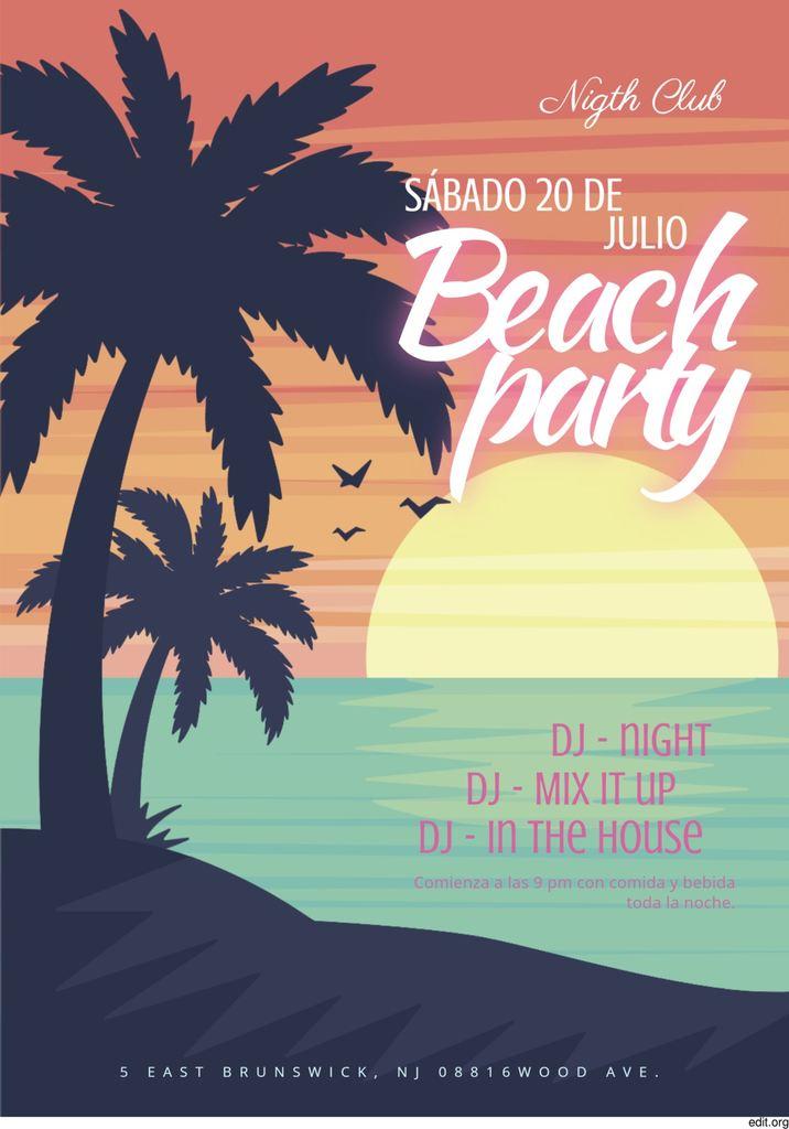 cartel de fiesta en la playa para editar y descargar gratis