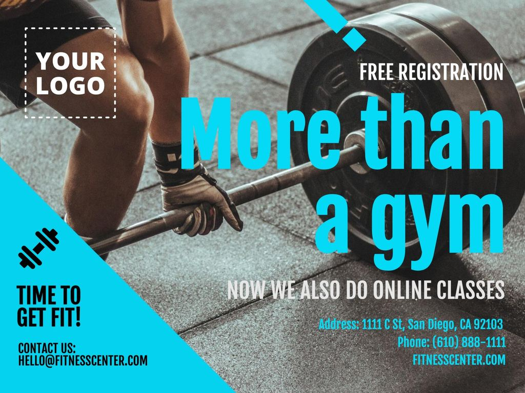 Template for gyms and fitness online, ready to edit. Blue version.