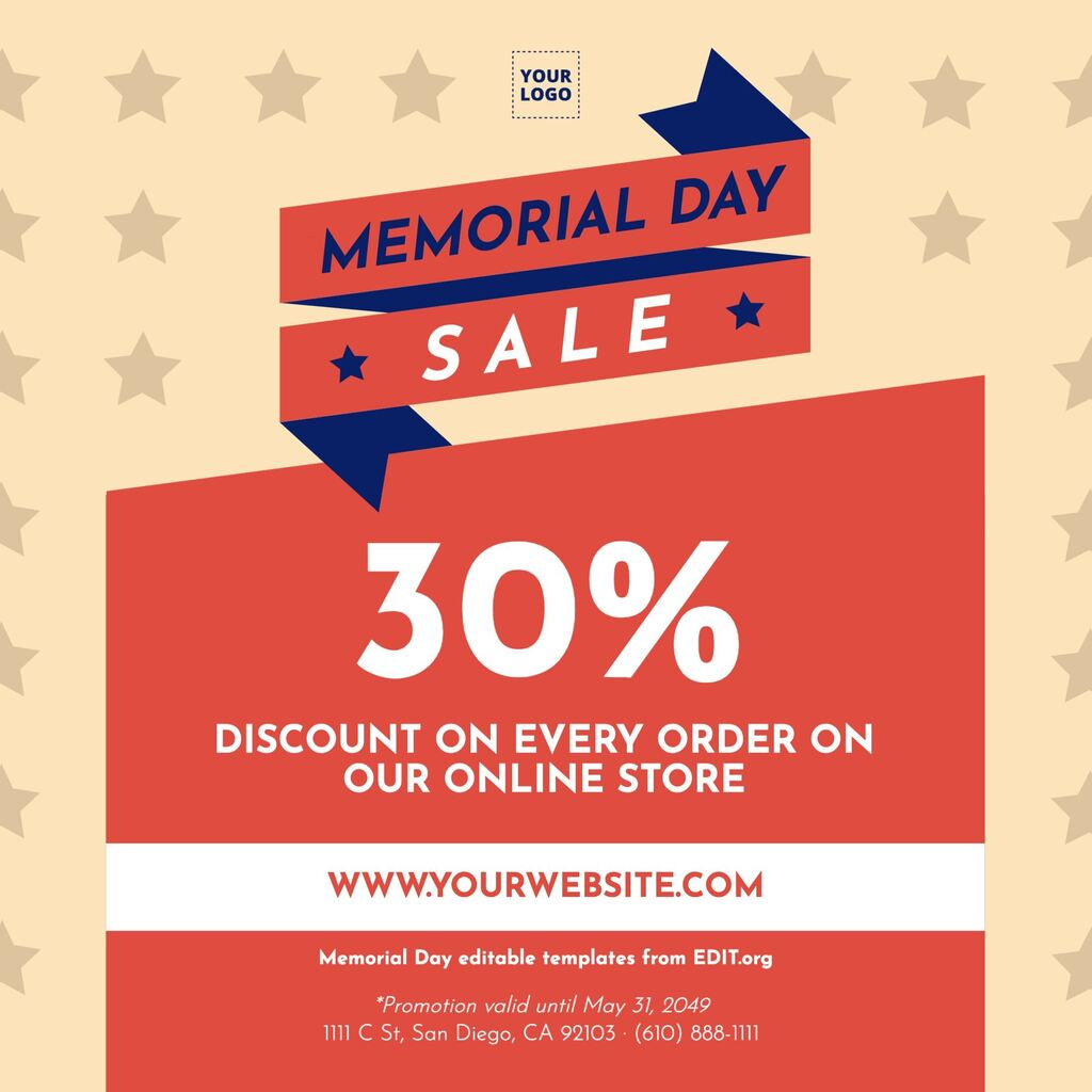 Customizable Memorial Day banner for sales & discounts