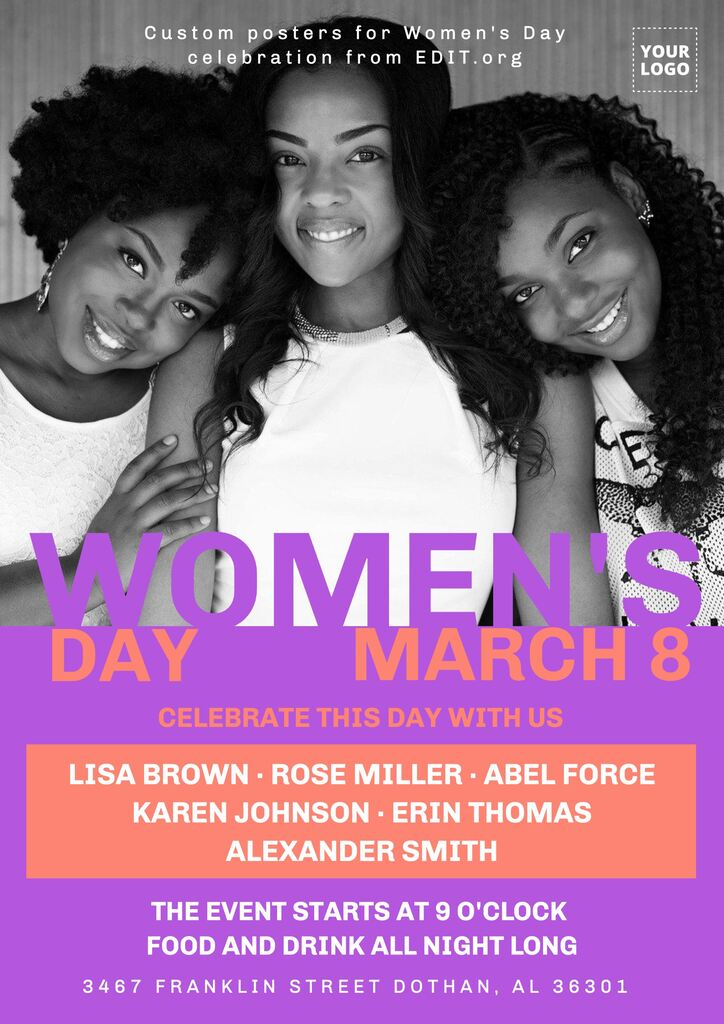 Editable Women's Day printable posters for free