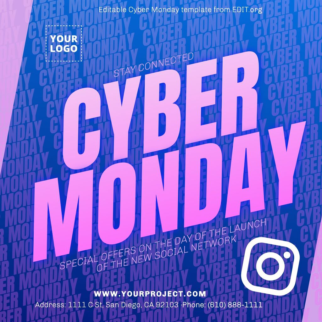 Customizable Cyber Monday banner template