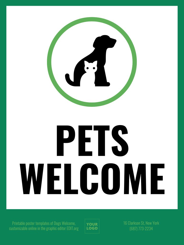 Pets Welcome editable sign for free