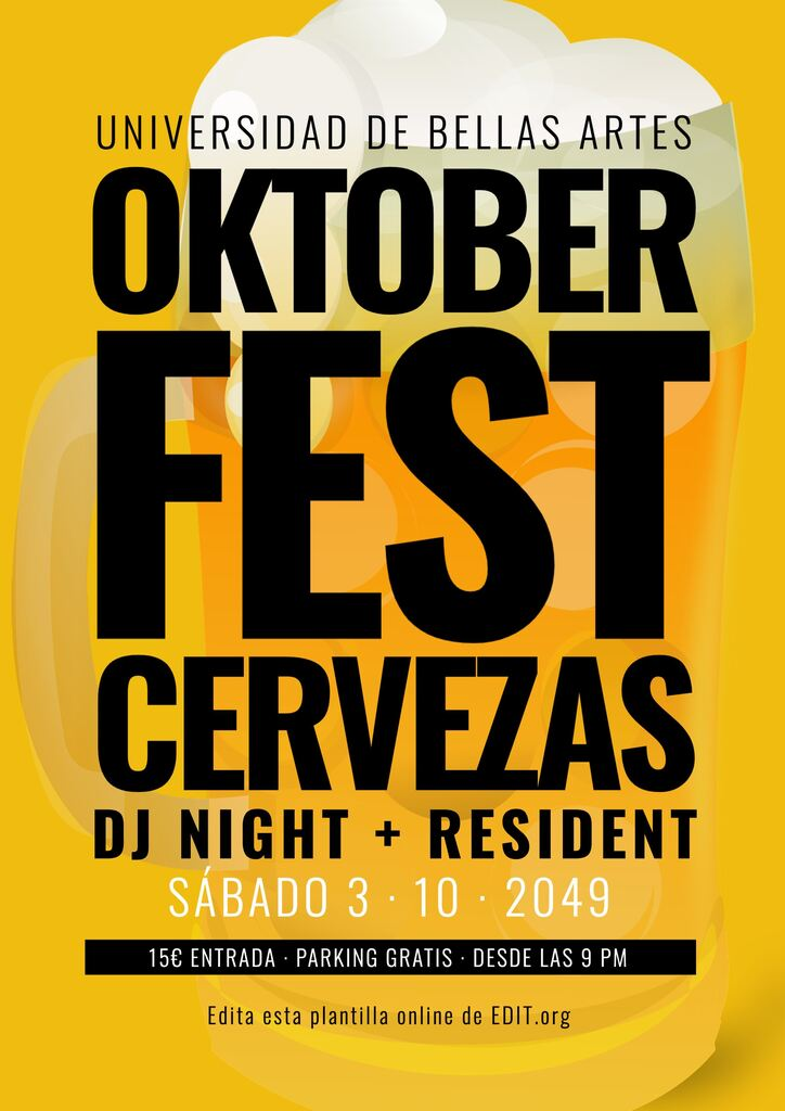 Cartel editable fiesta Oktoberfest para imprimir