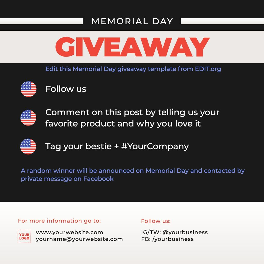 Memorial Day giveaway template to customize online