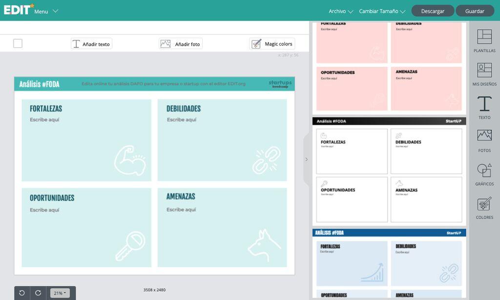 Analisis FODA editor online gratis para empresas y emprendedores