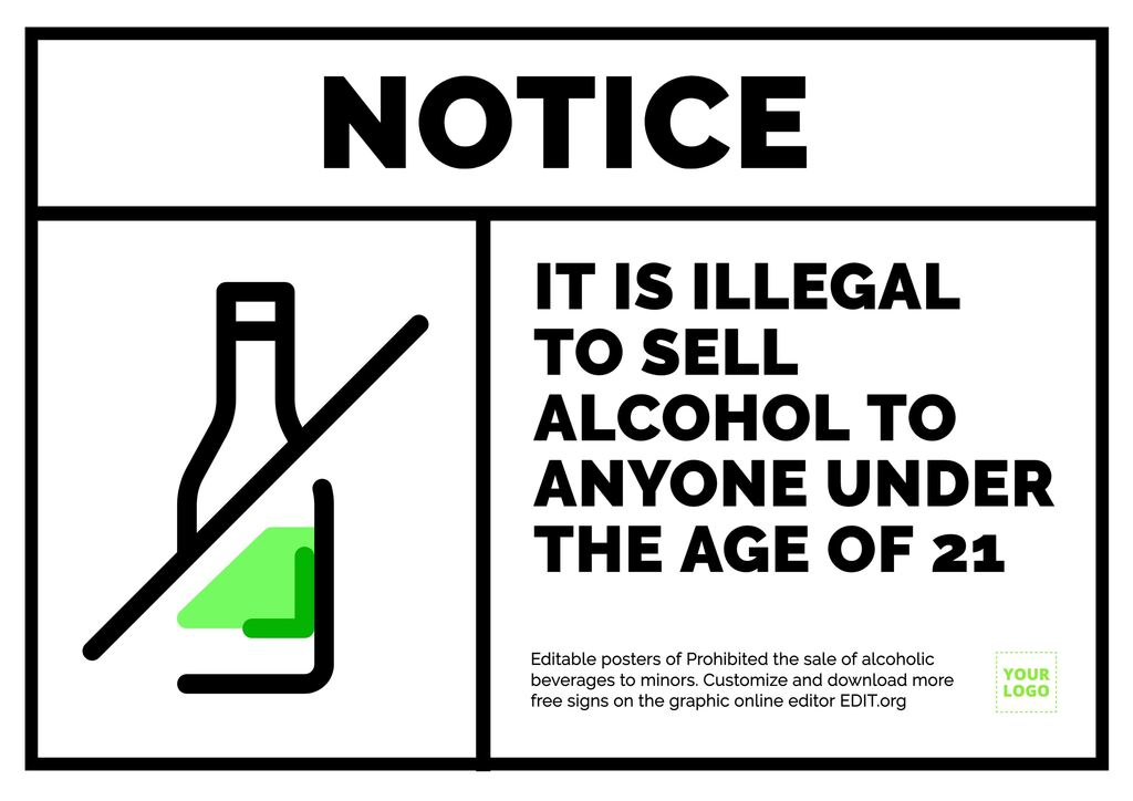 No alcohol served poster sign template to custom online.