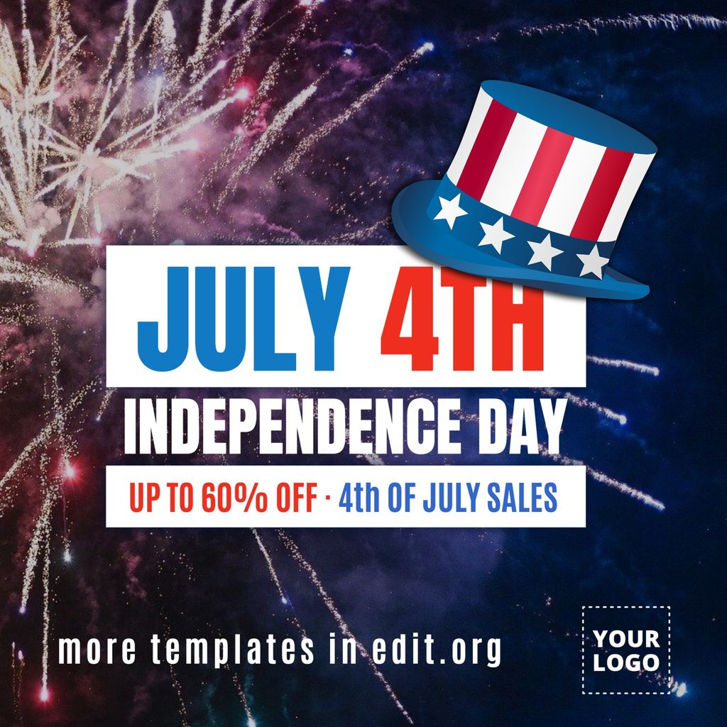 fireworks template for independence day in USA ready to edit and print