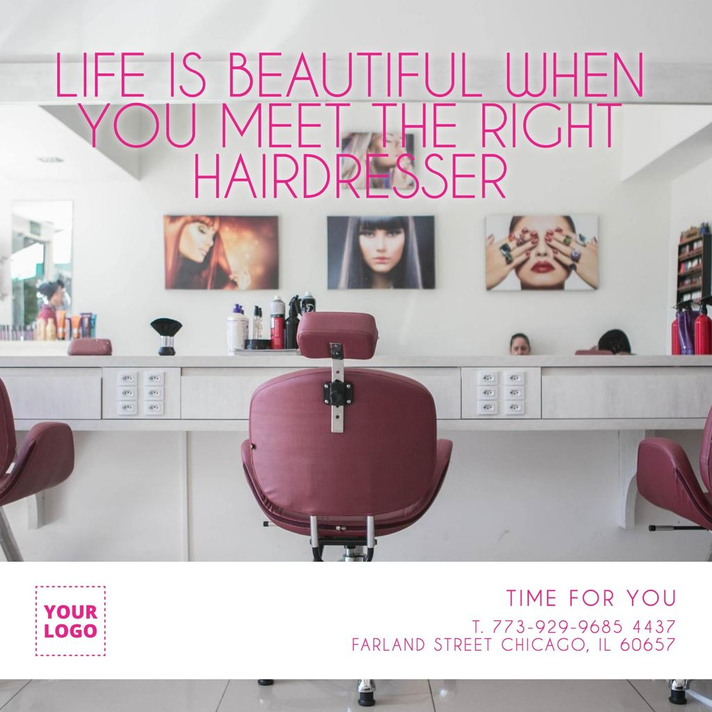 Hairdresser picture with motivational quote