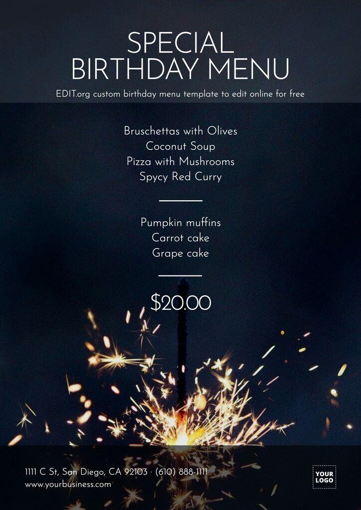 Birthday menu template to customize online