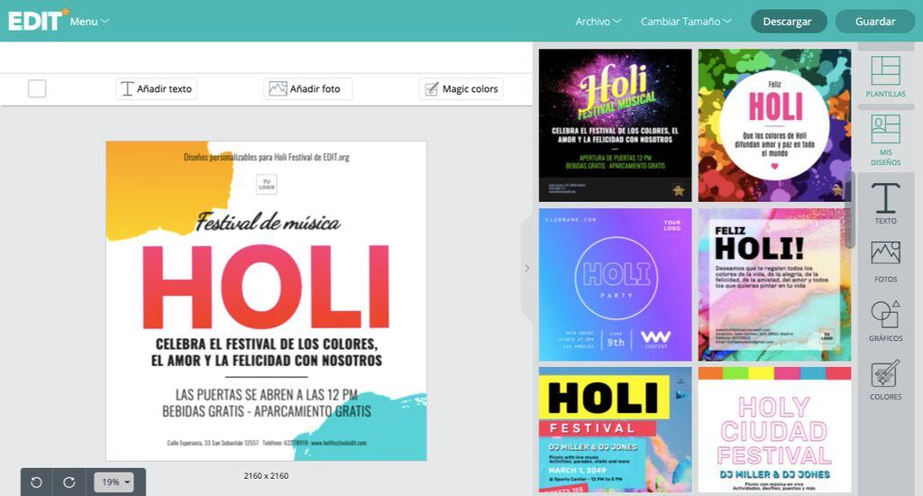 Plantillas personalizables y gratis de Holi para imprimir