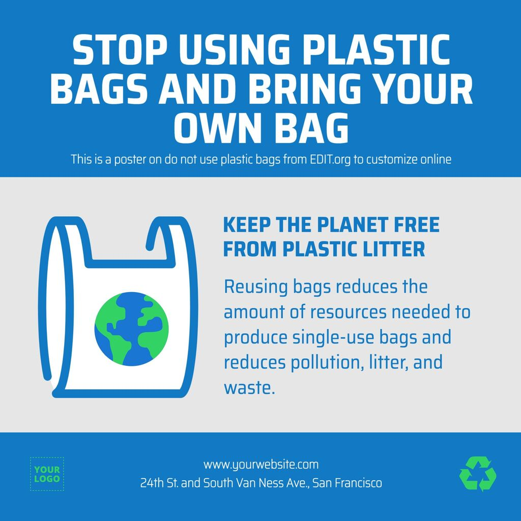 Poster on say no to plastic bags to print