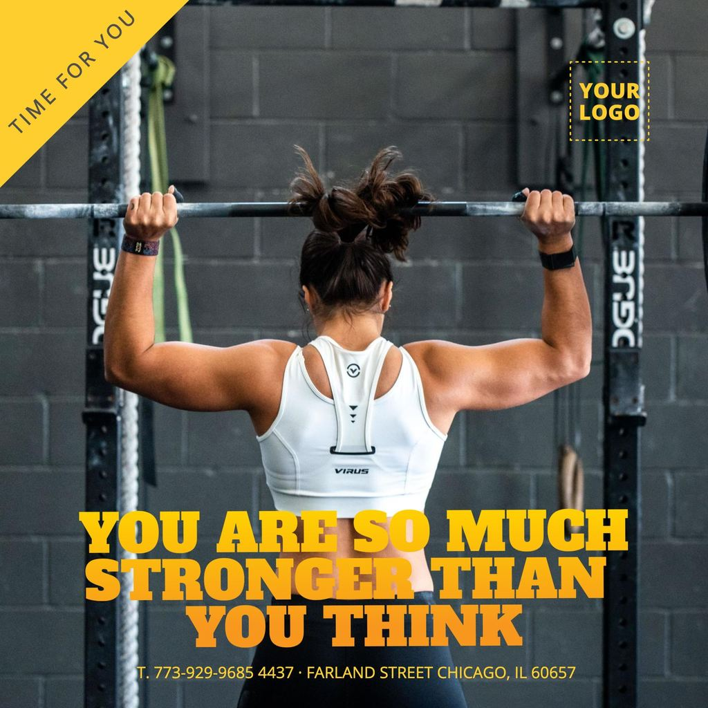 Working out motivation picture template for gyms