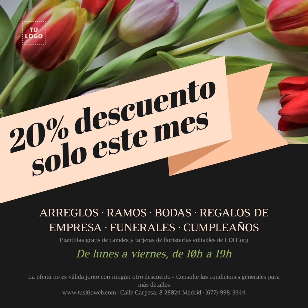 Carteles, folletos y tarjetas de floristerías gratis