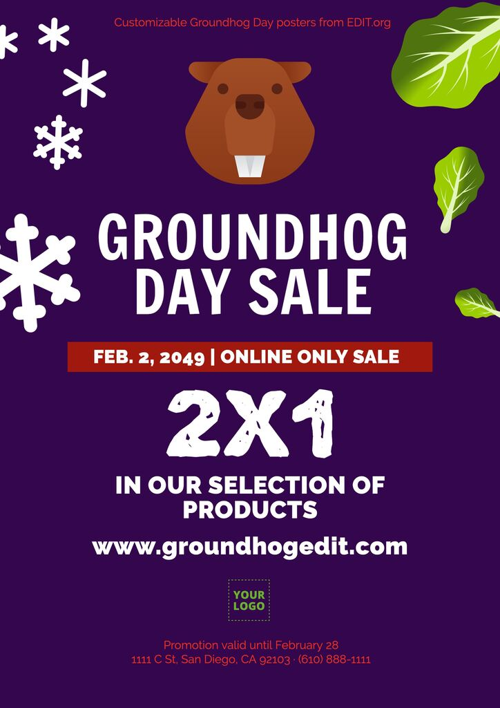 Editable free template for Groundhog Day promotions and events