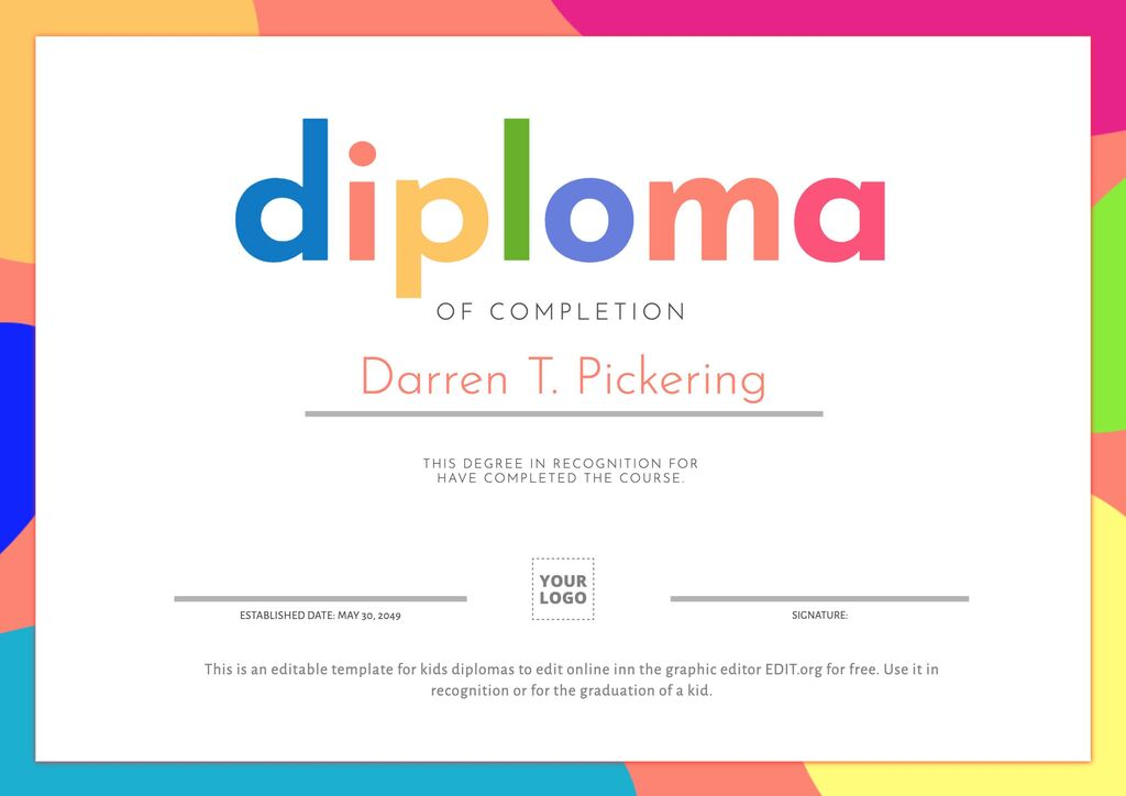 Editable diploma for kids to edit online for free