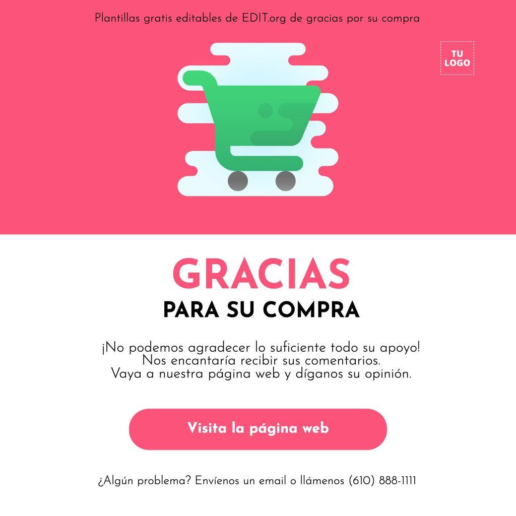 Diseño de gracias por comprar con nosotros personalizable