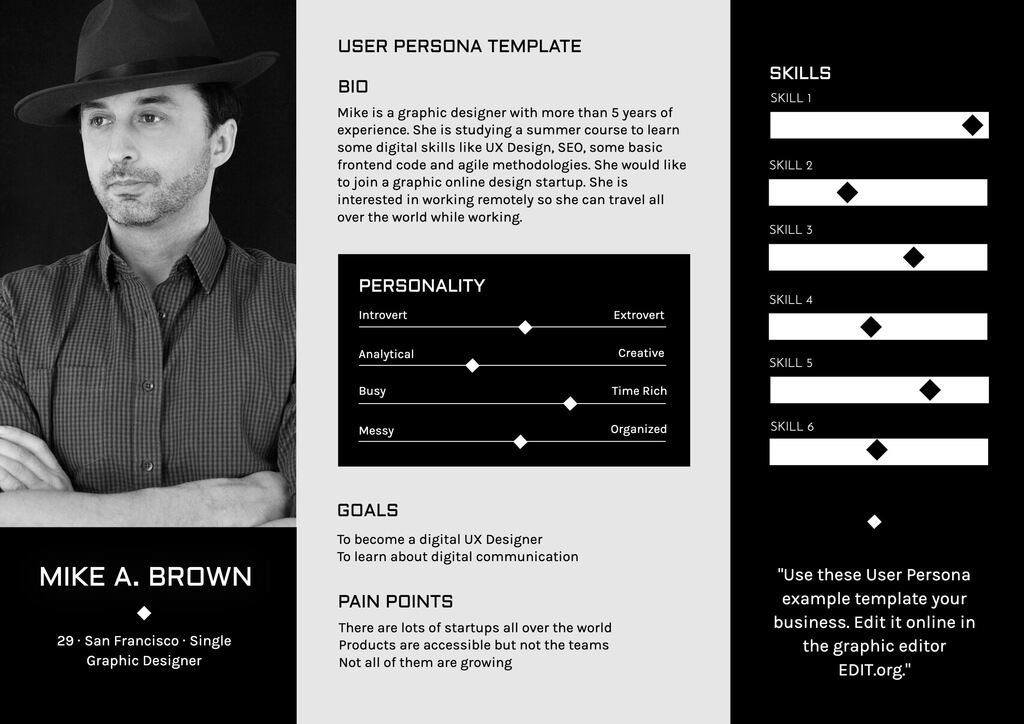 User persona template example to edit online for free with the generator of UX personas