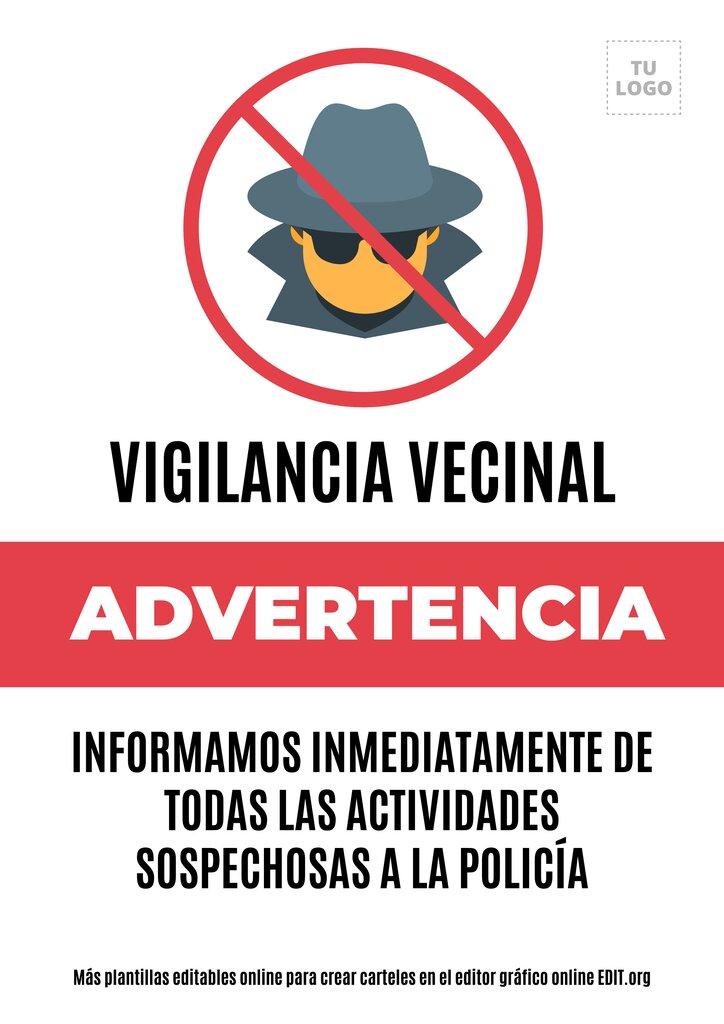 Cartel edtiable online de Aviso Vecinos Vigilando