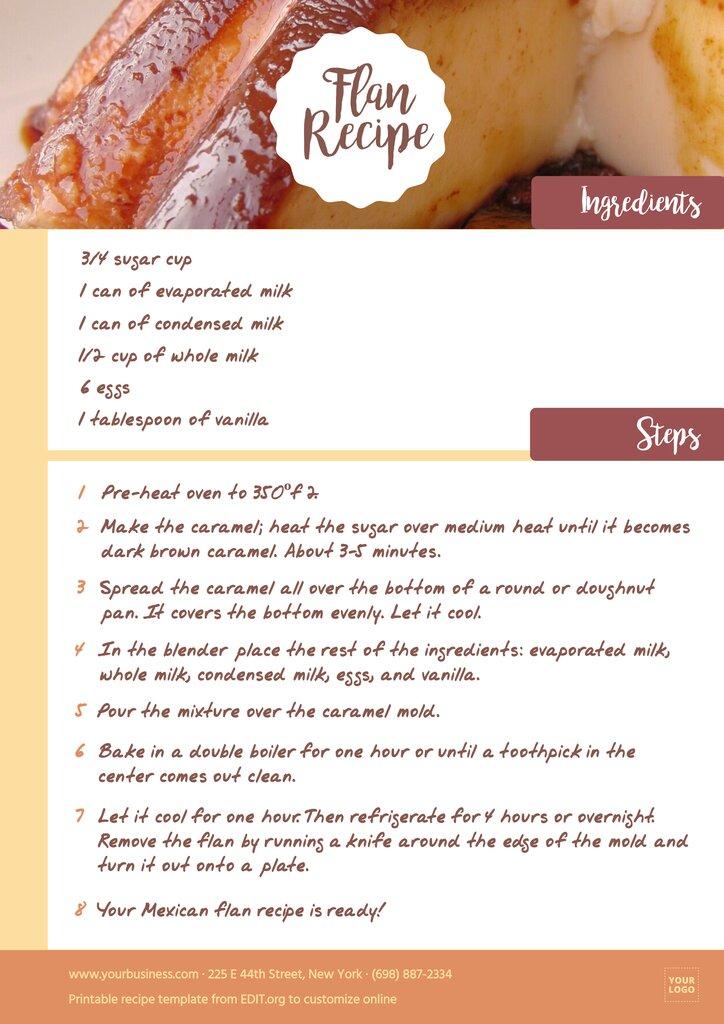 Free editable downloadable recipe template