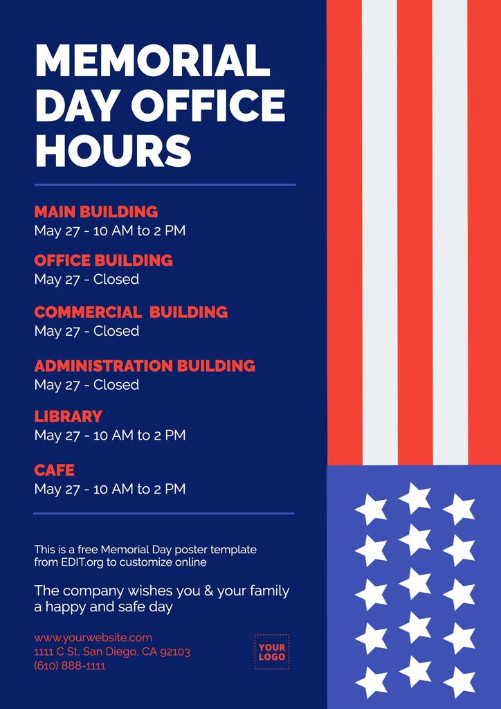 Editable Memorial Day schedule poster to download