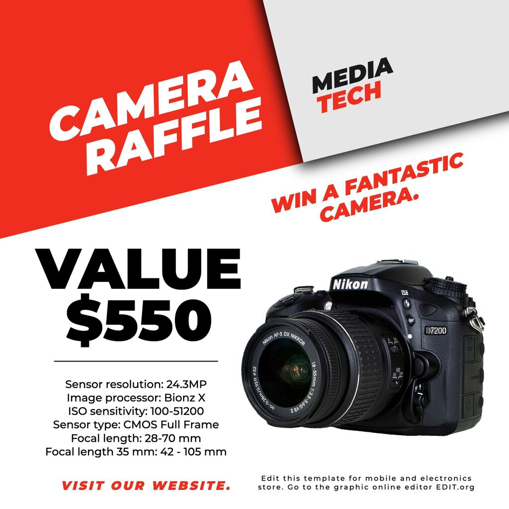 Template for a camera contest for electronics and photo stores
