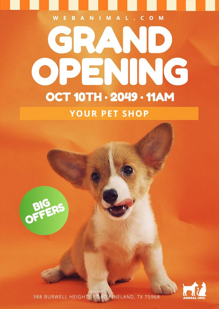 Grand opening orange template to edit for posters and banners online
