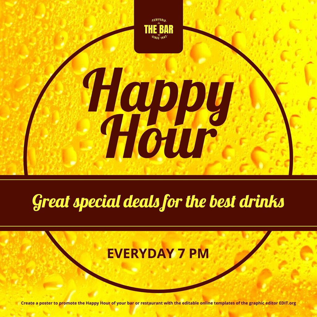 Happy Hour banner template to edit online for free