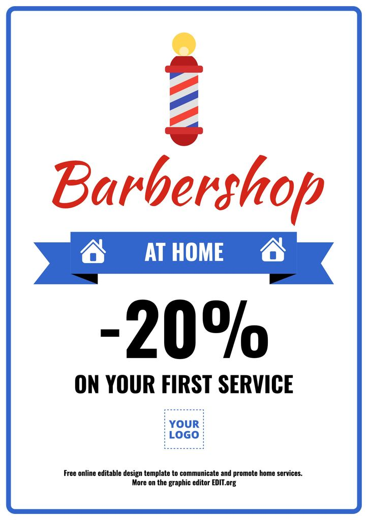 Home barber service poster template editable online