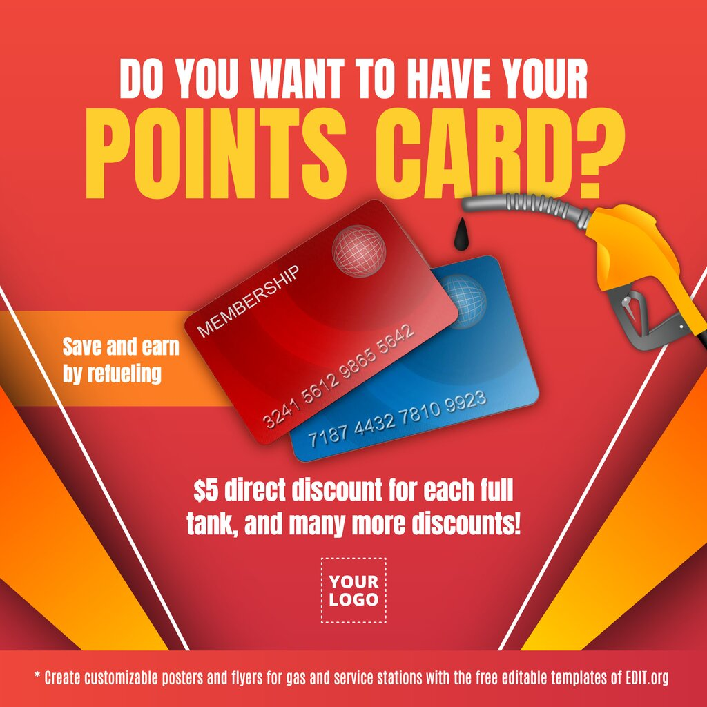 Gas station loyalty card template to customize online