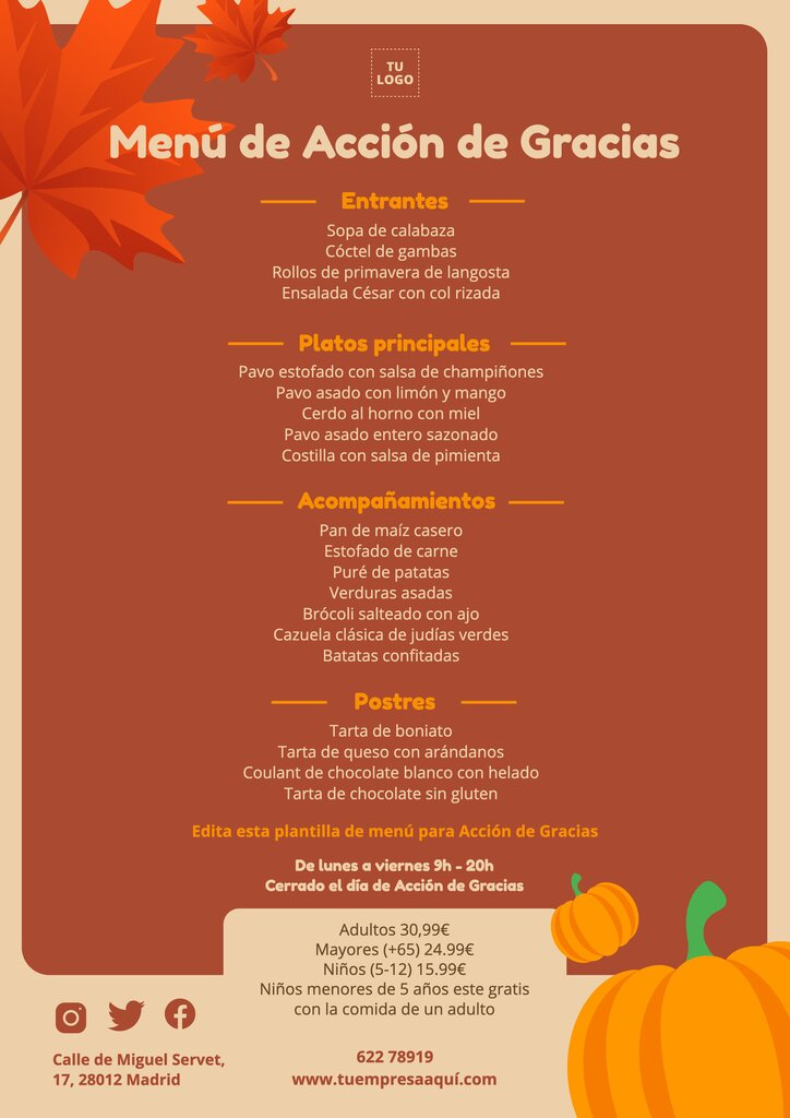 Día de Acción de Gracias menu editable para imprimir