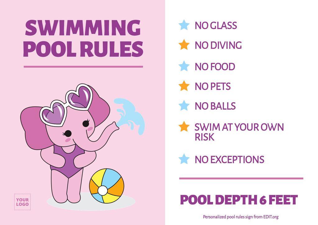 Free printable pool rules sign