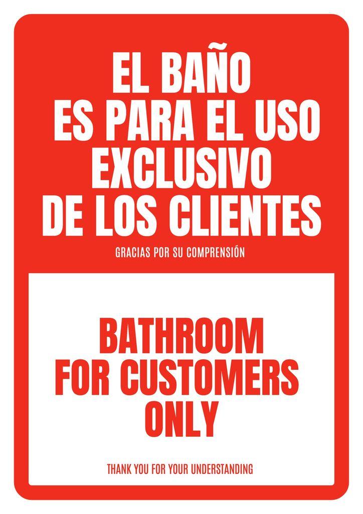 Cartel editable WC solo para clientes para bares y restaurantes