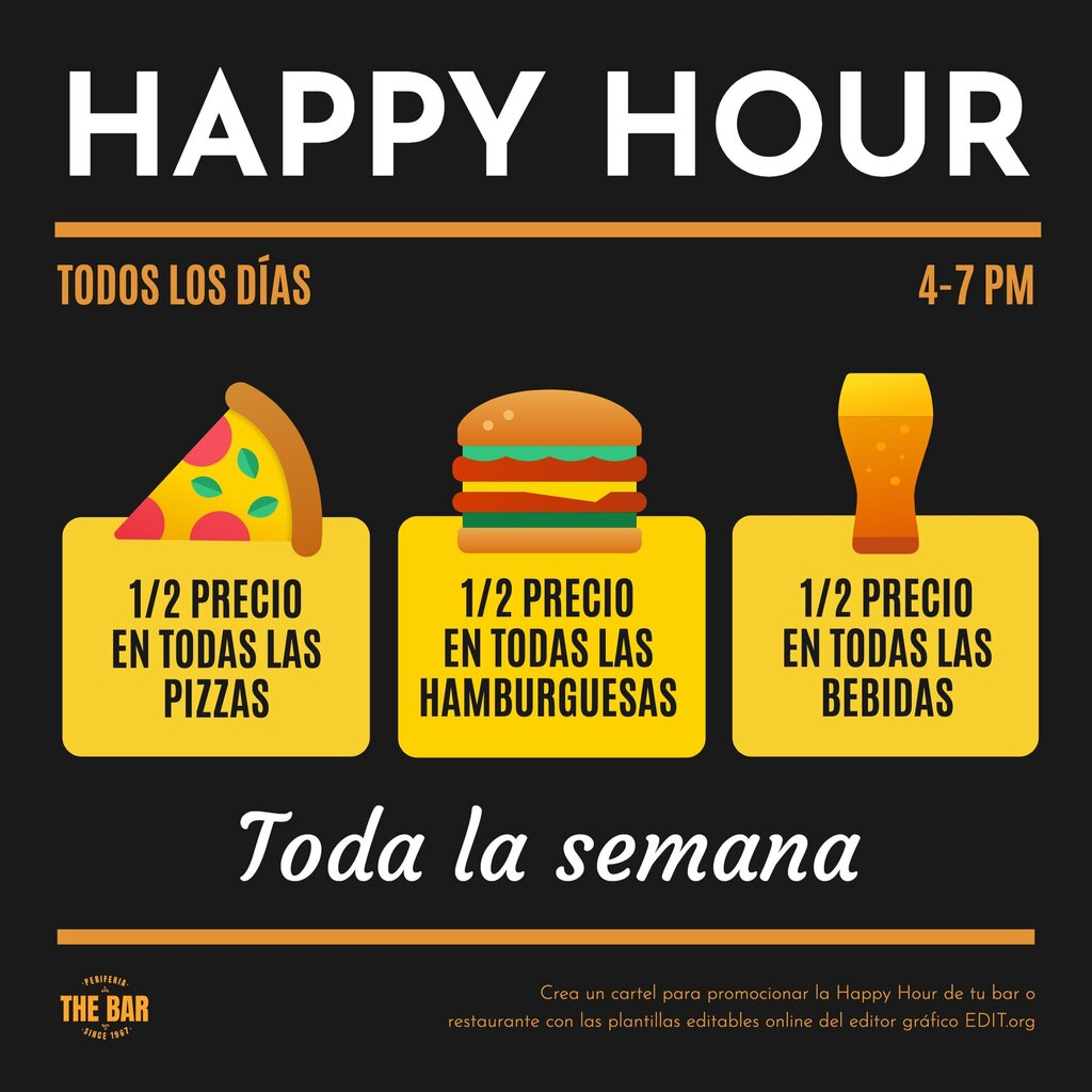 Plantilla editable online para promocionar Happy Hour de comida y bebida