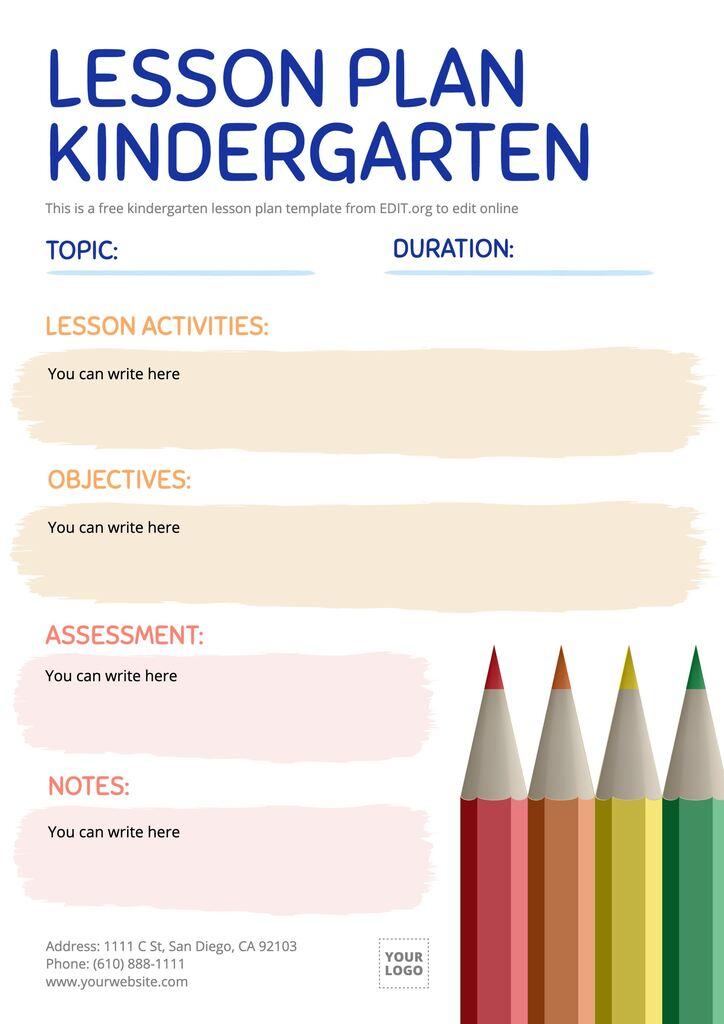 Editable lesson plan template for preschool