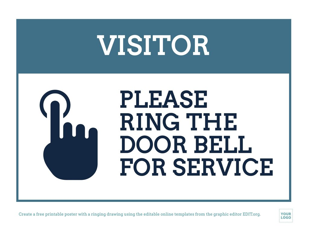 Ring the door bell sign with drawings to edit online and print